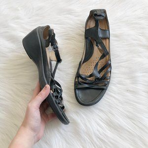 ECCO Black Strappy Wedge Sandals SZ 41